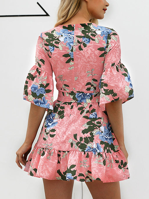 Ruffled Hem Mid-sleeve Print Dress