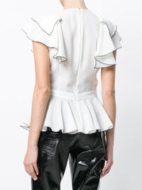 Ruffled Sleeveless Sling Top V-neck Chiffon Shirt