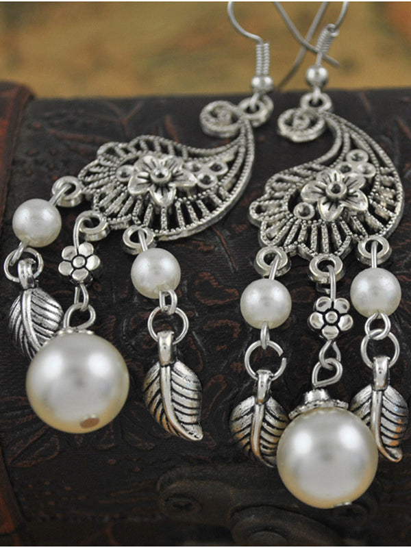Court Vintage Flower Pearl Earrings Baroque Openwork Leaf Tassel Earrings