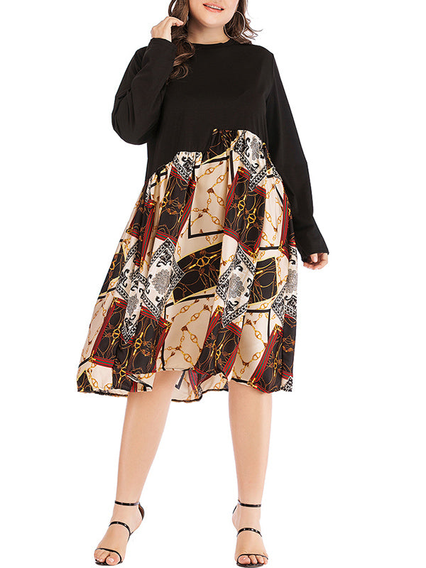 Plus Size Printed Color Dress With Long Sleeves