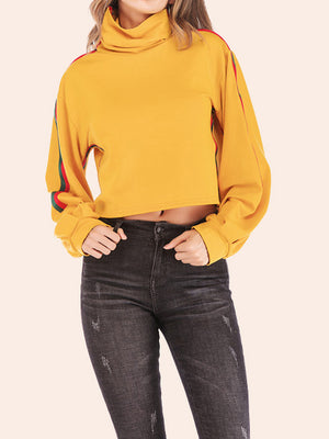 Sweater Rainbow Strip Stitching Round Neck Casual Sweater