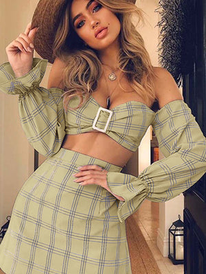 Spring and Summer Women's Trumpet Sleeve Tube Top Two Piece Plaid Dress