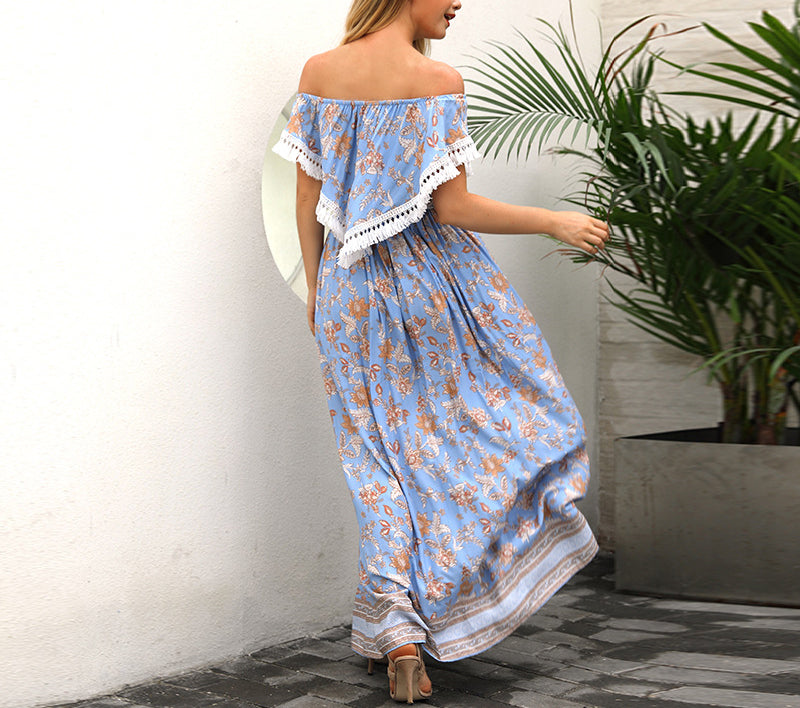 Beach Holiday Beach Skirt Lady Print Dress Bohemian Dress