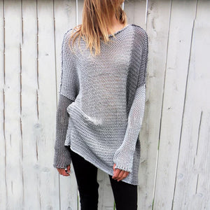 Long Sleeved Hooded Color Matching Sweater