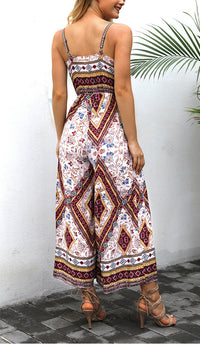 Printed Retro Style Temperament Waisted Jumpsuit