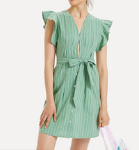 Sling Striped Lace Short Dress