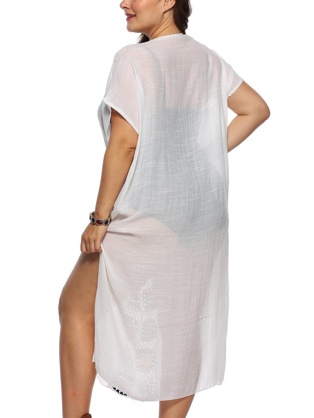Deep V-neck Short-sleeved Large Size Beach Dress