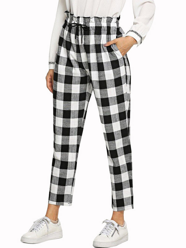 Fashion High Waist Plaid Casual Trousers
