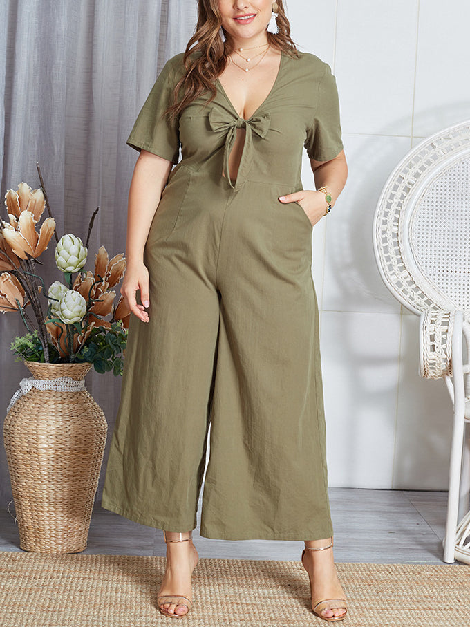 Sexy Bowknot Deep V Neck Rompers Women Jumpsuit