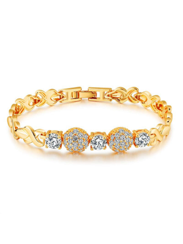 Exquisite Round Micro-set 3A Zircon Bracelet Beautifully Shiny 18K Gold Bracelet