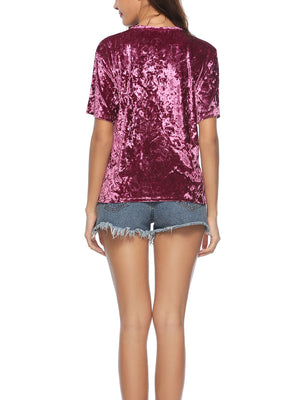 Fashion Short Sleeve Velvet T-shirt