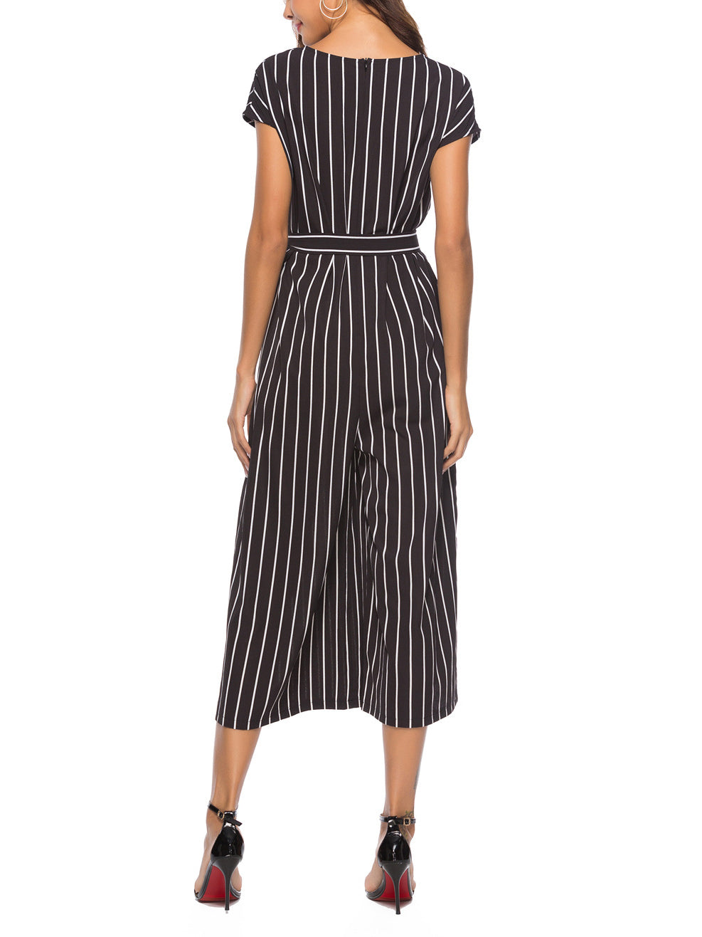 Women Fashion Striped Jumpsuit