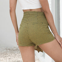 High Waist Strap Plaid Casual Wide Leg Shorts