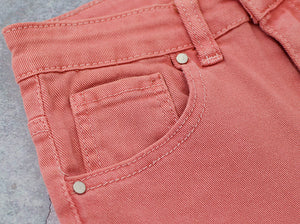 High Waist Pink Popular Pocket Denim Trousers