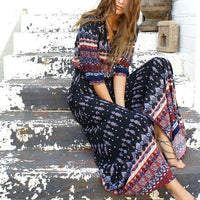 Vacation Style V Neck Retro Printed Maxi Dress