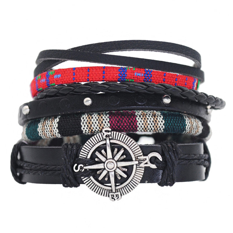 Vintage Wind Woven Leather Bracelet Men and Women Couple DIY Multi-layer Art Bracelet