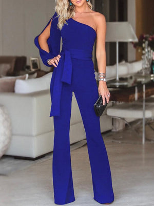 Explosive One-shoulder Sleeves with Jumpsuit Trousers