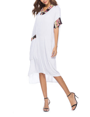 New Solid Color Causal Splicing Midi Dress