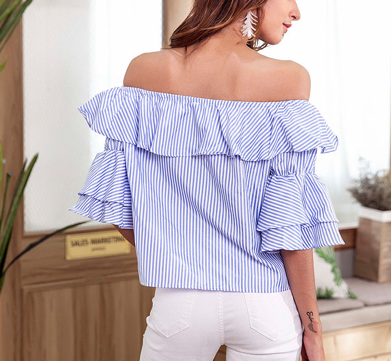 Blue Striped Word Collar Ruffled Sexy Top Button Short-sleeved Shirt