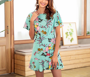 Printed Round Neck Short-sleeved Beach Holiday Dress