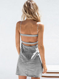 Black White Plaid Bow Backless A-line Dress