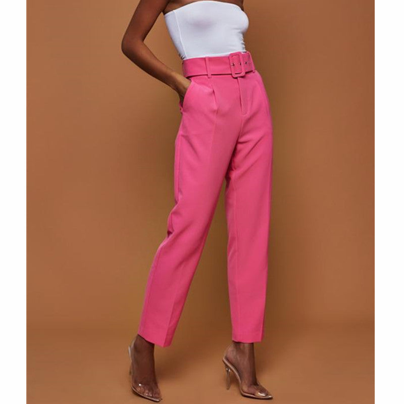 Women's Autumn Casual Pants High Waist Solid Color Cropped Trousers Straight Trousers with Belt