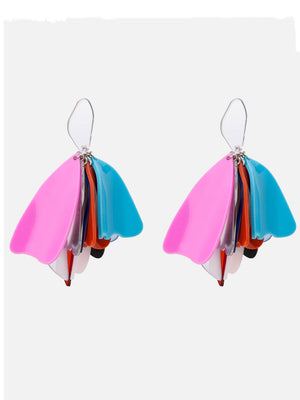 Irregular Acrylic Geometric Earrings Creative Mixed Color Petals Long Earrings Female