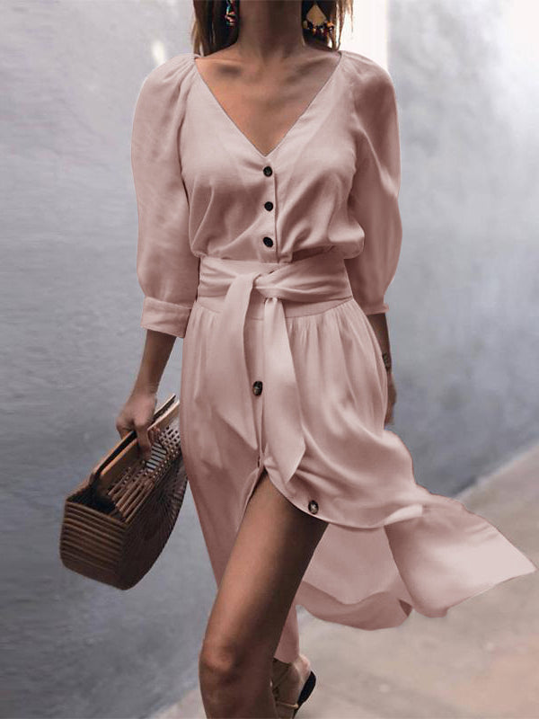 Autumn V-neck Strap Mid-sleeve Dress