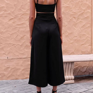 High Waist With Belt Casual Trousers