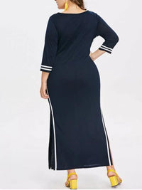 Temperament Large Size Women's Round Neck Long Sleeve Solid Color Irregular Dress