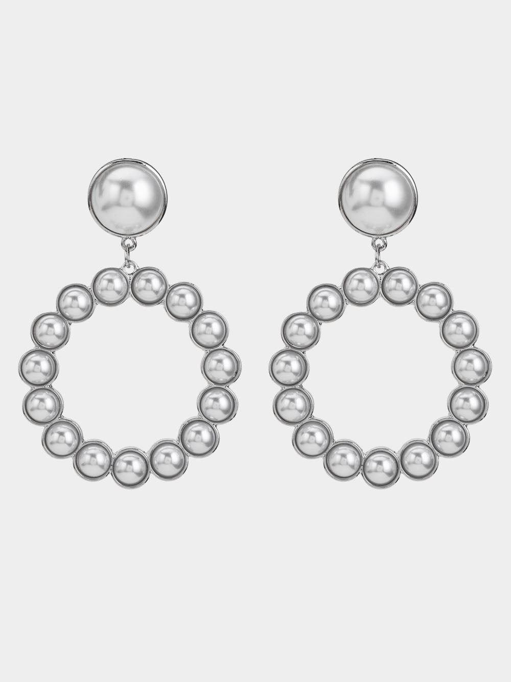 Exaggerated Big Earrings with Pearl Earrings Temperament Earrings Ring Earrings