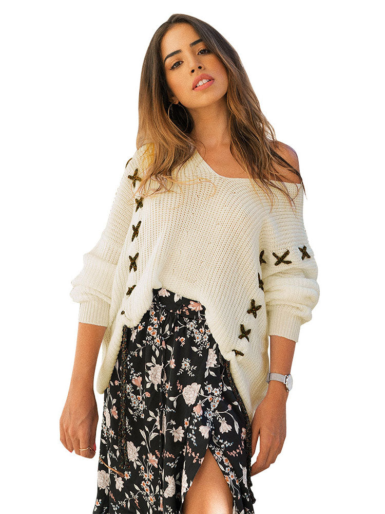 Spring and Summer Fashion V-neck Long-sleeved Sweater Top