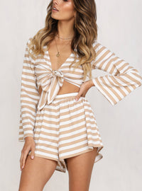 Round Neck Striped Long Sleeve High Waist Shorts Suit