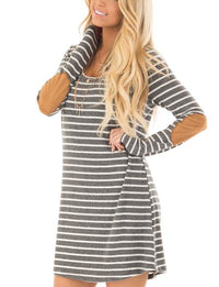 Round Neck Patch Stitching Long Sleeve Loose Striped Dress