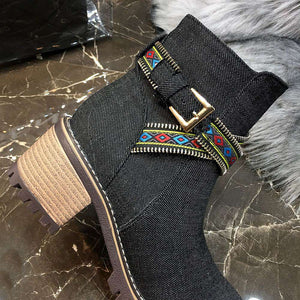 Cowboy Boots Short Boots Fashion National Wind Belt Buckle Martin Boots Knight Boots Large Size Women's Boots