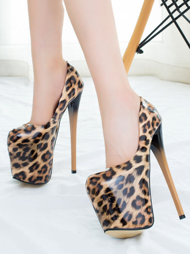 Autumn Super High-heeled Hate Sky High Leopard Large Size Women's Shoes