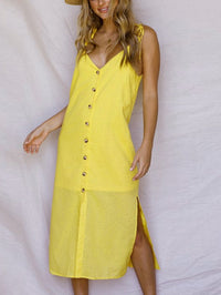 Split Single Row Buttoned Sleeveless V-neck Dress