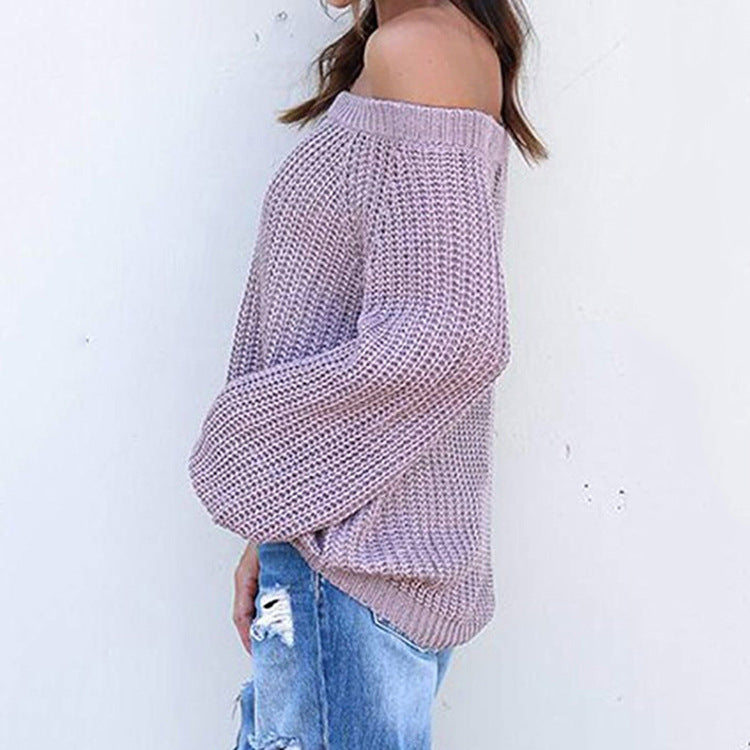 Off-the-shoulder Large Size Pullover Lantern Sleeves Sweater