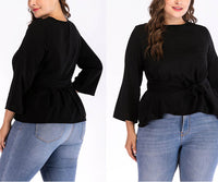 Plus Size Round Neck Long Sleeve T-shirt Bottoming Shirt