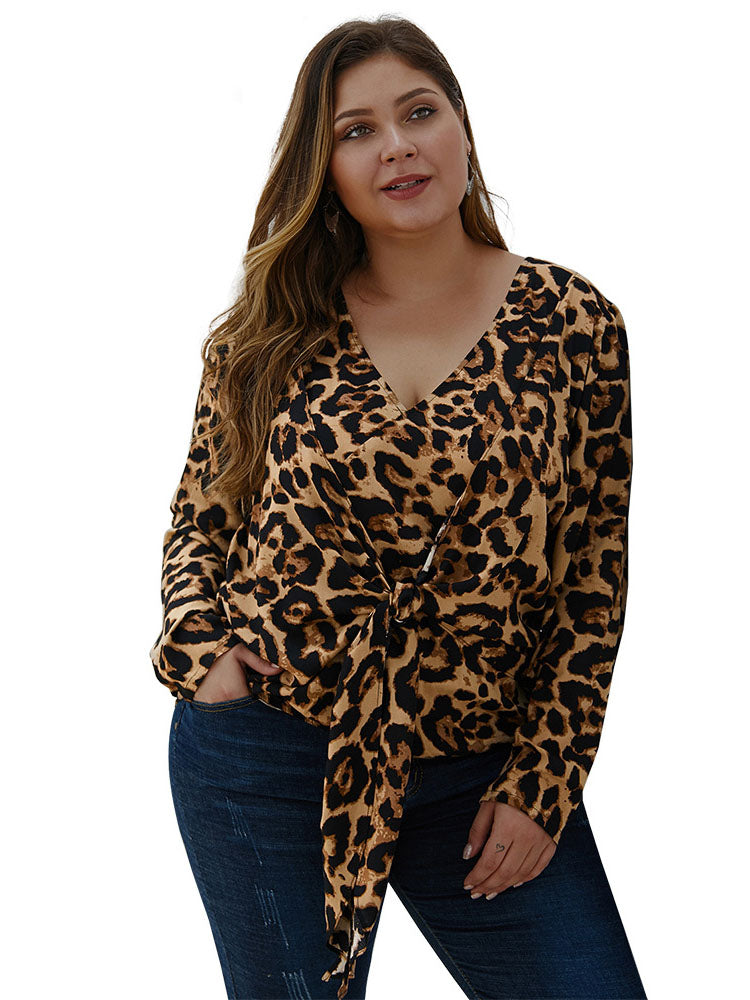 Leopard Large Size Women's Shirt Autumn and Winter Long-sleeved Shirt Top