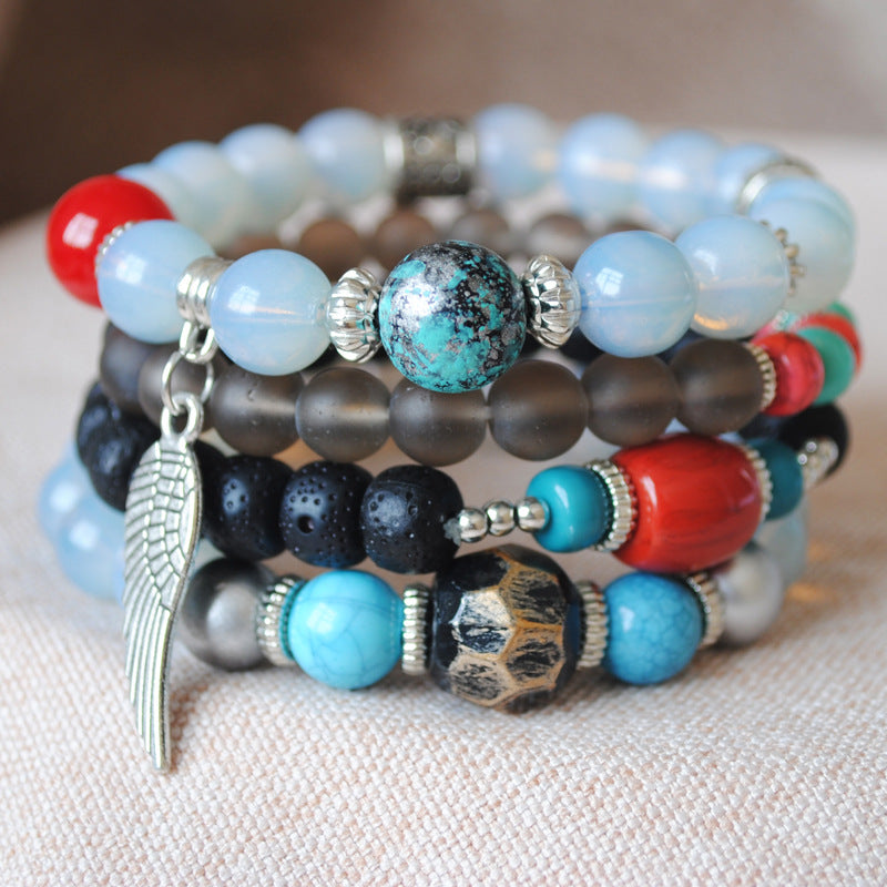 Multi-layer Bead Bracelet Color Elastic Rope Beading