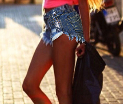 High-waist Slim Fit Rivet Denim Hot Shorts