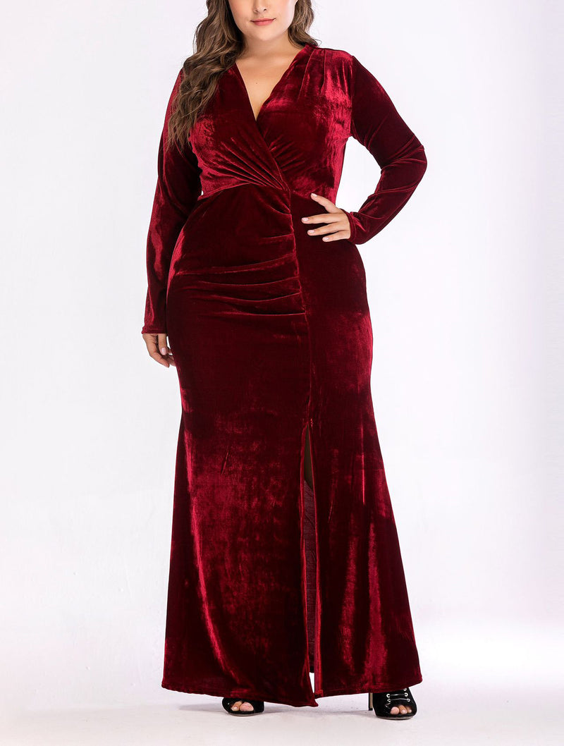 V-neck Split Plus Size Long Evening Dress