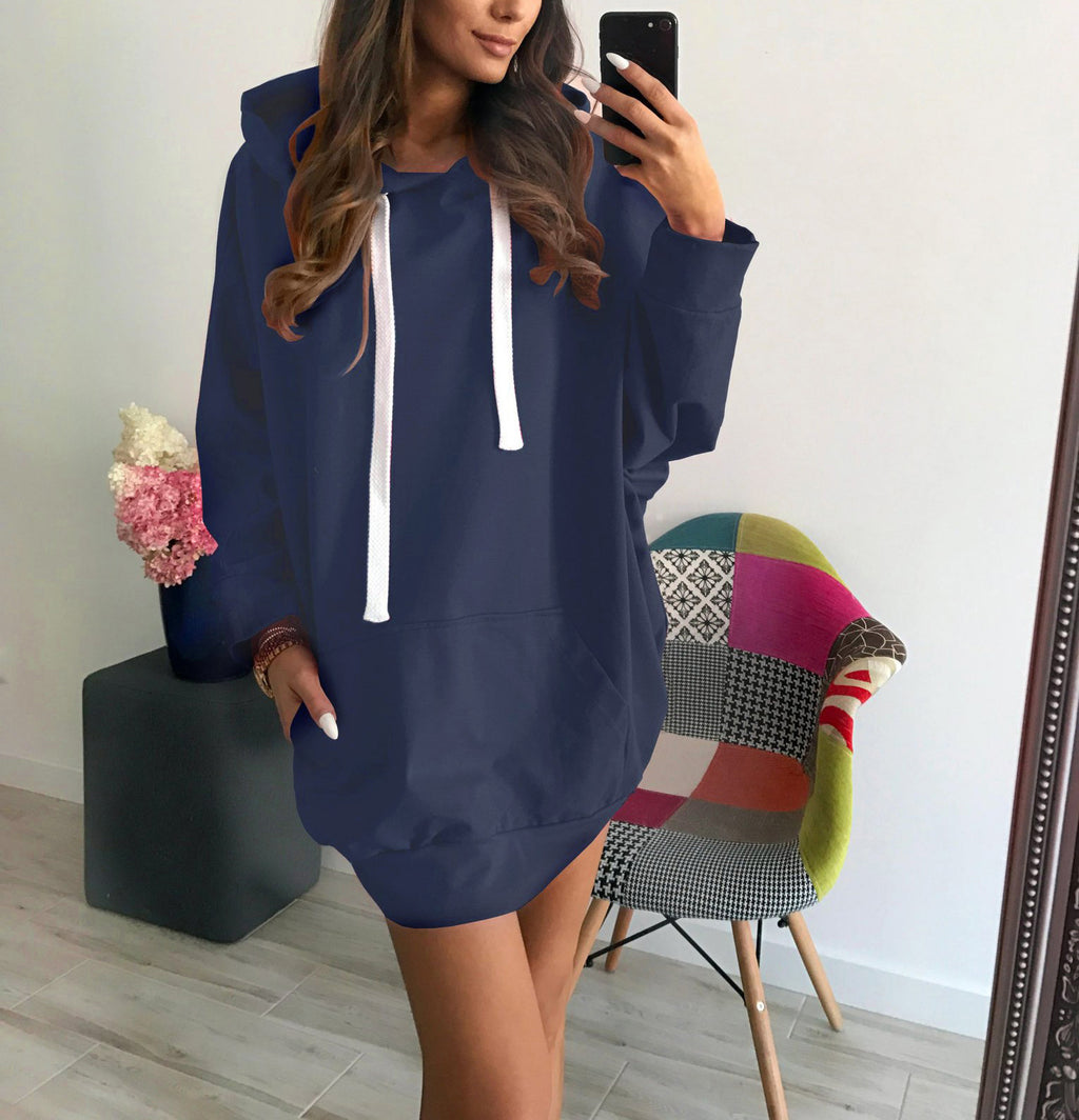 Loose Fashion Long Sleeve Hooded Sweatshirt