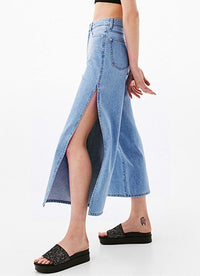 Eight-point High Waist Double-sided Split Wide-leg Jeans
