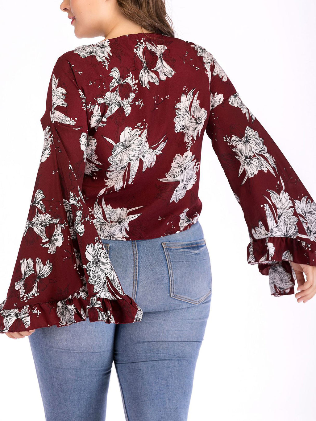 Large Size Printed Long Sleeve Cardigan