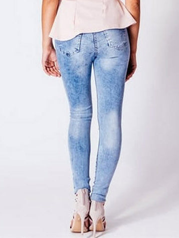 Mid-rise Slim Stretch Washed Denim Trousers