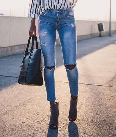 High Waist Slim Stretch Washed Irregular Denim Pants
