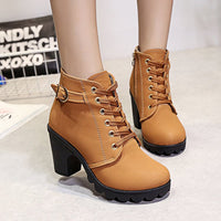 Autumn and Winter High Heel Women's Boots Cross Straps Short Boots Thick with Martin Boots Leather Boots