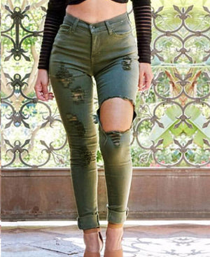 High Waist Slim Hole Army Green Large Size Jeans